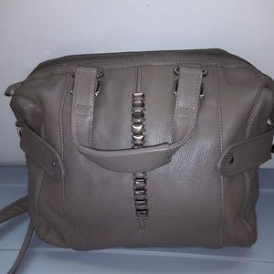 Gray leather satchel shoulder bag